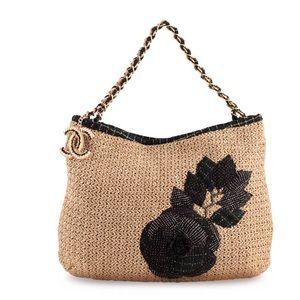 Chanel straw and denim camellia hobo shoulder bag